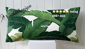 Tommy Bahama Green-White Swaying Palm Tropical Leave Lumbar Cushion Cover