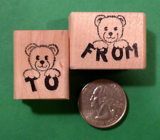 Teddy To and Tedd From - Wood Mounted Rubber Stamp Set of (2)