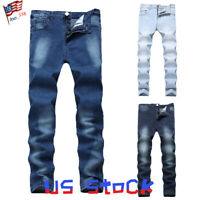 Men Casual Skinny Wash Jeans Classic Slim Fit Straight Denim Pants Moto Biker US