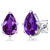 2.00 Ct Pear Shape Amethyst 925 Sterling Silver 6-Prong Stud Earrings