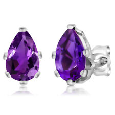 2.00 Ct PEAR Shape Amethyst 925 Sterling Silver 6-prong Stud Earrings