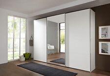 SlumberHaus German Ernie 270cm White & MIrror 3 Door Sliding Door Wardrobe