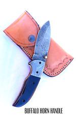 Handmade Damascus Steel Folding Knife Beautiful Horn Handle/ Upgraded Version F9