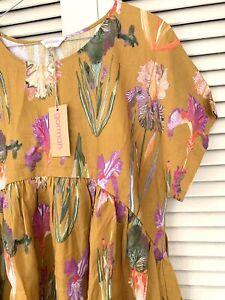 "New! Lovely GORMAN ""Iris Gold"" Bungalow Dress -  size S"