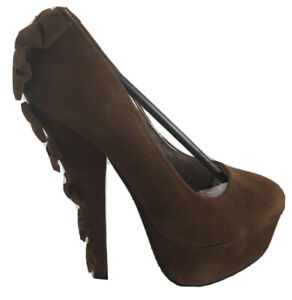 Ladies Brown High Heeled Shoes Size 5