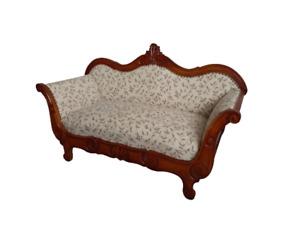 Divano a barca  stile  Luigi Filippo in faggio tinto noce - divanetto - sofà 900