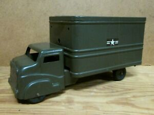 """STRUCTO US ARMY TRUCK, 1950s Pressed Steel Box Truck, 12 1/4"""" long"""