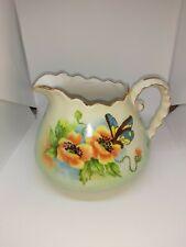 Vintage Handpainted porcelain small pitcher Signed