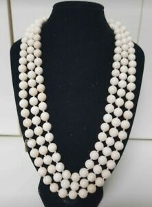 Authentic 155cm Amy Khan Russell Tridacna Conch Shell 8mm Bead Necklace 132grams