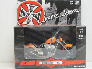 Motorrad Diablo Soft Tail in orange mit Flammen, Jesse James, OVP, Action, 1:18