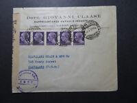 Italy 1945 censor Cover to USA / Strip of 5 - Z10812