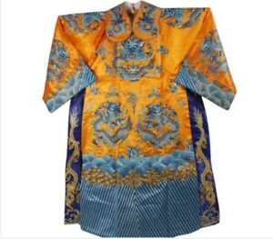 Chinese Qing Dynasty Emperors Formal Dress Embroidery Dragon Design Dragon Robe