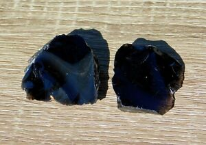 Black Obsidian Natural Set of Two Rough Volcanic Glass for Lapidary Display