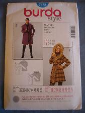 Burda Estilo 7275 tamaños de abrigo de patrón de costura europea de 36 - 50