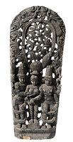 """Antico Pannello Legno Lavorato Statua Hindu 152 cm-60 """" Art Asiatiche Nepal"""