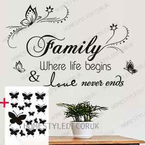 Large Family Wall Quotes Decal Wall Stickers FREE 16 Butterflies Home Art Decor