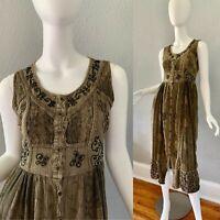 Womens Rayon Ethnic Embroidered Button Hippie Boho Festival Grunge Sun Dress M