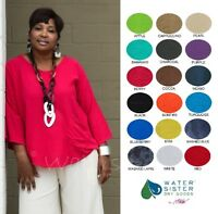 WATERSISTER Cotton Gauze  JOEY Easy Pocket Tunic Top OS (M-1X/2X)  2019 COLORS