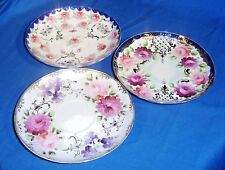 3 collectable translusent fine china  saucers with floral designs