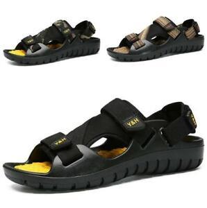 Men's Open Toe Slingbacks Summer Beach Fashion Flats Comfortable Shoes Black Sz