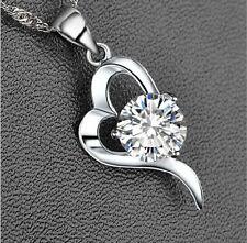 Mujeres Cadena De 925 Plata Cristal Corazón Colgante Collar Joyería Necklace