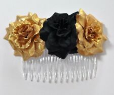 "4"" Gold & Black Rose Roses Silk Flower HAIR COMB Wedding Bridesmaid Bridal"
