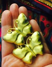 Vintage Givenchy Paris Butterfly Big Earrings! Stunning Satin Gold Finish!