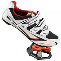 Venzo Cycling Bicycle Road Bike Shoes with Pedals & Cleats White