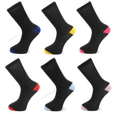 6 or 12 Pairs Mens Black Cotton Socks With Coloured HEELS & Toes Adults 6-11
