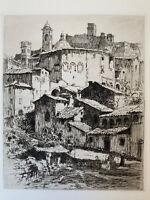 Paul Adrien Bouroux gravure eau forte etching Paysage Ville D' Assise Italie