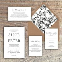 Wedding Invitations Personalised monochrome black & white typography packs of 10