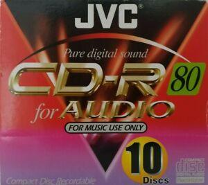 JVC CD-R80 / CD-RA80 10 PACK Audio Music CD-R Blank Recordable Disc 80 MINS