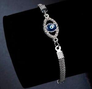 Silver Bracelet Evil Eye Charm Kabbalah Hand Of Fatima Hamsa Judaica UK Seller