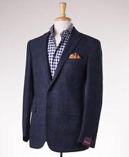 NWT $2995 SARTORIA PARTENOPEA Dark Blue Melange Wool Sport Coat Slim US 48 R
