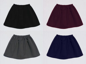 Smart Girls Elasticated Waist School Skirt 4 colours Washable Fabric Grey Navy