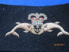 Royal Navy Cloth Dolphin Badge, Gold/Silver Wire embroidered Queens Crown
