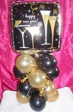 HAPPY NEW YEAR FOIL BALLOON TABLE DISPLAY AIRFILL ONLY - NO HELIUM - BLACK GOLD