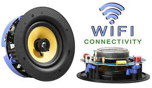 """TDX 6.5"""" 2-way WiFi Wireless In-Ceiling Flush Mount Lautsprecher Magnet Grill Paar"""