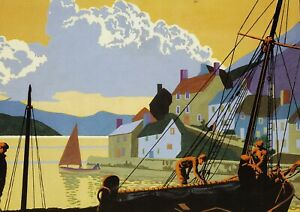 Crail Harbour Fife Brian Cook print in 11 x 14 inch mount ready to frame SUPERB