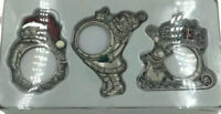 Vintage Set of 3 Kirkland Signature Collectible Pewter Santa Gift Ornaments