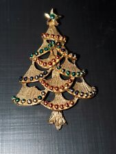 Vintage Gerrys Gold Tone Christmas Tree with Red & Green Balls Pin Brooch