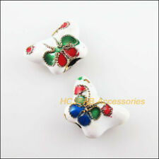 6 New Animal Butterfrly Charms White Enamel Cloisonne Spacer Beads 10.5x15mm