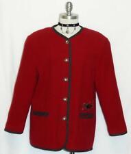 "WOOL RED JACKET Women German Austria Hunting DUCKS Sport Coat 40 10 12 M B43"""