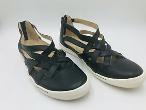 Ziera Sz 43FF Dhara Black Leather Strappy Sneaker Flats & Inserts VGC