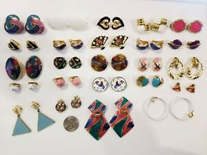 Vintage Mod Gold Tone Enamel Cloisonne+ Clip Earrings LOT Lewis Segal Trifari+