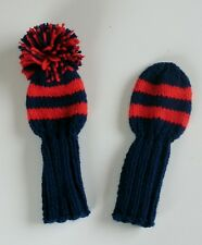 """Set Of 2 10"""" Navy/2 Red Stripes Hand Knit Golf Club Head-Covers for woods/hybrid"""