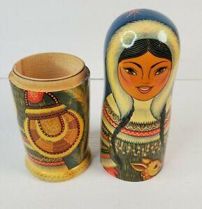 Vintage Russian Inuit Girl Wood Wine Vodka Bottle Holder Signed Doll Reindeer
