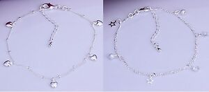 925 Sterling Silver Star Charm Figaro Chain KPAN3 or Heart Charm Anklet KPAN4