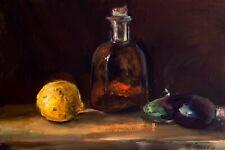 lemon pepper bottle and eggplant Oil Painting 8x12in 20x30cm