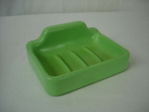 Vintage 60s Green Ceramic Bathroom Soap Dish Wall Fixture